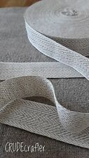 1m 100% LINEN 25mm woven herringbone tape, trim, ribbon, webbing. High Quality