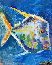 "Fish One  8""x10"" oil painting print Framable Blues Colorful Nancy T. Van Ness"