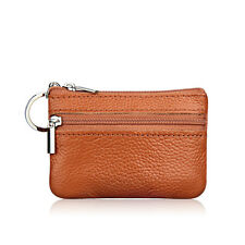 Womens Leather Small Coin Money Card Wallet Clutch Key Holder Pouch Purse Brown