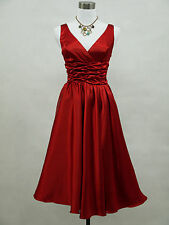dress190 SATIN RED CORSET BACK ROCKABILLY SWING PROM VINTAGE PARTY DRESS 22