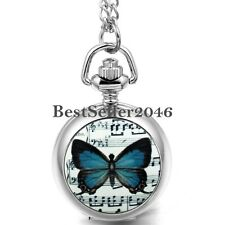 Ladies Womens Music Butterfly Pendant Quartz Pocket Numerals Watch Necklace