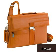Piquadro Brown Icon Small briefcase w/ organized panel, laptop sleeve CA1559IC/M