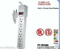 6 OUTLET  POWER STRIP WITH RESET CIRCUIT BREAKER - 18 INCH CORD- UL  LISTED
