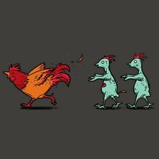 """""""Zombie Attack"""" Rooster Chased by Infected Chickens Funny - Vinyl Sticker"""