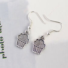 Antique Silver Cute Cupcake Earrings