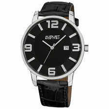 New Men's August Steiner AS8055BK Slim Swiss Quartz Black Leather Strap Watch
