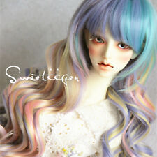 "8-9"" 1/3 BJD Hair IP SD doll wig Super Dollfie ice cream rainbow curly long"
