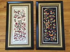 Vintage Chinese Silk Embroidery Tapestry of 100 Children Playing Framed Set of 2