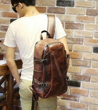 Retro Vintage Men's Leather Backpack Bags Shoulder Briefcase Rucksack Laptop Bag