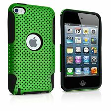 For iPod Touch 4th Generation - HARD & SOFT SILICONE CASE COVER GREEN BLACK MESH