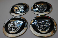 JAGUAR HUB CAPS BADGE EMBLEMA ADESIVI IN METALLO 56.5mm Set di 4 di alta qualità