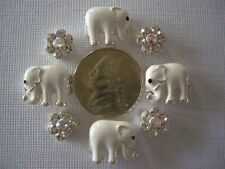 2 Hole Slider Beads Elephants & Daisy White Made With Swarovski Elementsi #8