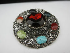 Vintage Extra Large Miracle Scottish Agate Glass Rhinestone Pin Brooch 3.25""