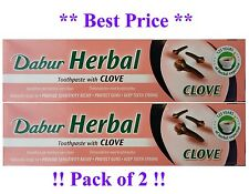 2x DABUR CLOVE HERBAL TOOTHPASTE 100ML NO ADDED FLUORIDE SUITABLE FOR VEGETERIAN
