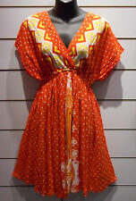 Mini Dress Fits M L XL Orange Polka Dot African Dashiki Print Dolman NWT DC99