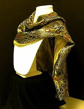 New HandSilk Brocade & Charmeuse Peacock Gold,Black,Red Shawl,Scarf Reversible