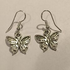 Cute Sterling Silver Hook w/Tibetan Silver Butterfly Charm Dangle Drop Earrings