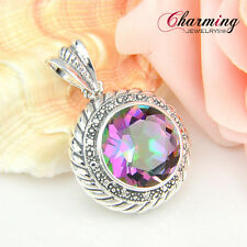 GIFT Natural Rainbow Fire Mystical Topaz Gems 925 Vintage Silver Plated Pendant