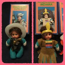 Vintage 1980s Mini Bean Matchbox Doll - Cowboy and indian