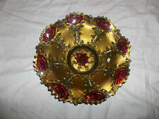 Vintage Candy Dish/Serving Bowl, Bronze/Gold Color With Roses, EUC