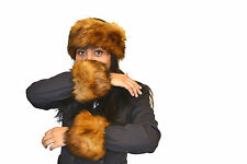 Ladies Super Soft Set Faux Fur Fox Headband Winter Set Ski Wristband Ankle band