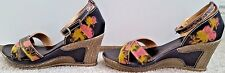 Women's Wedge Sandal 9M Ankle Strap Multi-Colored Stunning