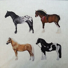 TEX EX MULTI HORSES CUSHION PANEL LINEN PIEBLAD SHIREHORSE PALOMINO APPALOOSA