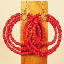 "2 1/2"" Red Triple Hoop Bohemian Style Handmade Seed Bead Hook Earrings"