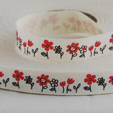 Zakka Cotton Ribbon Sewing Label Tape Red Daisy Flower