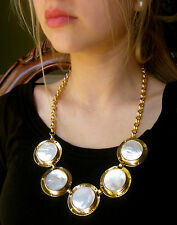 KATE SPADE HUGE SHELL NAUTICAL ALL ABOARD MOTHER OF PEARL DISC NECKLACE MUST SEE