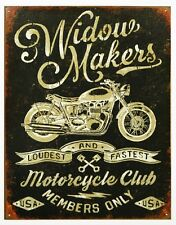 Widow Makers Tin Metal Sign Motorcycle Club Members Only Weathered Style Bike