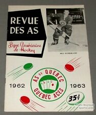 1962-63 AHL Quebec Aces Program Bill Sutherland Cover