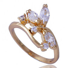 Artistic Womens Yellow Gold Filled Clear Zirconia Cubic Stone Ring Size 6