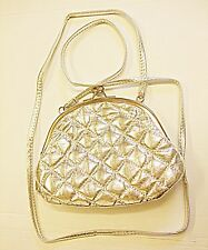 VINTAGE RETRO STYLE PADDED LITTLE SILVER FAUX LEATHER EVENING SHOULDER BAG CUTE