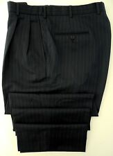 BROOKS Brothers PANTS 33 29 Blue STRIPED Wool USA Sz MENS Imported FABRIC Pleat*
