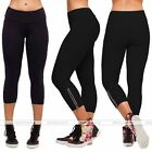 Women Capri Running yoga Sport Pants High Waist Cropped Leggings Fitness Black