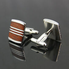 vintage stainless steel Wood Mens Wedding Party gift shirt cufflinks cuff links
