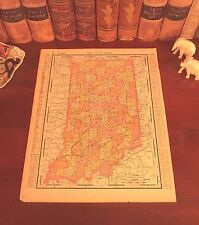 Original Antique 1898 Map INDIANA Evansville Gary Muncie South Bend Hammond IN