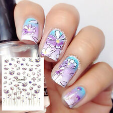 1Sheet 3D Nail Art Stickers Cute Flower Light Purple Floral Decals Tips Decor