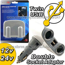 12v 24v Car Cigarette Lighter Twin Socket USB Multi Socket Charger Adaptor Pol36