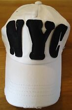 NYC TEAM MAJOR DISTRESSED  BASEBALL CAP : WHITE.