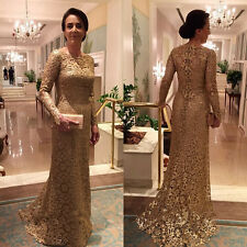 Gold Lace Mother Of The Bride Dresses Long Sleeve Sheath Elegant Women Gown