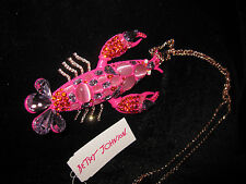 BETSEY JOHNSON BOAT HOUSE LARGE LOBSTER ROSE GOLD STATEMENT NECKLACE