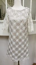 Jax Cream Crochet Lace Eyelet Short Sleeve Fully Lined Mini Shift Dress Sz. 4