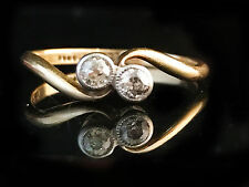 Fine, Art Deco 18ct, 18k, 750 Gold Diamond twist, cross over ring, Circa 1930.