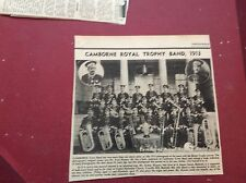 F2-1 ephemera 1972 picture reprint camborne royal trophy band 1913