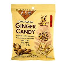 Prince of Peace® 100% Natural Ginger Candy 4.4 oz 124 grams Bag Stomach Comfort