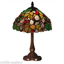 "TIFFANY STYLE TABLE LAMP 15"" EMBOSSED GRAPE DESIGN 10"" GLASS SHADE FREE BULB NEW"
