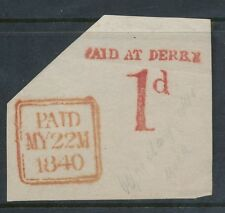 IRELAND 1840 MAY 22nd PAID at DERRY.....VERY FINE on PIECE PENNY POST