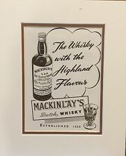 Vintage Advertisement mounted  to frame Scotch Whisky Mackinlay's 1954